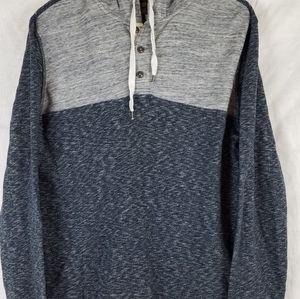 Lucky Brand gray&blue heather Sweatshirt hooded Lg